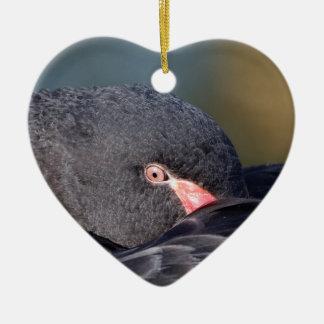 Schwarzer Schwan Schlafens Keramik Herz-Ornament