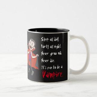 Schwarzer Spaß, zum eine Vampire-Tasse (Mann) zu Zweifarbige Tasse