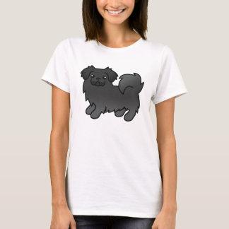 Schwarzer tibetanischer Spaniel-Cartoon-Hund T-Shirt