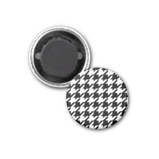 Schwarzer u. weißer Jagdhund-Zahn-runder Magnet Runder Magnet 3,2 Cm