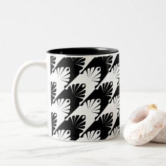 Schwarzer u. weißer Jagdhund-Zahn Zweifarbige Tasse