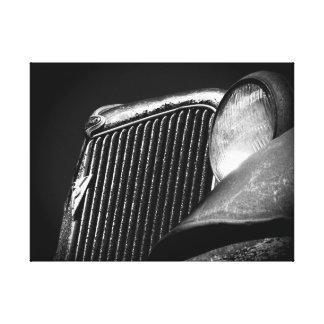 Schwarzer u. weißer Vintager Auto-Grill Gespannter Galerie Druck