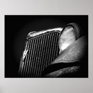 Schwarzer u. weißer Vintager Auto-Grill Poster