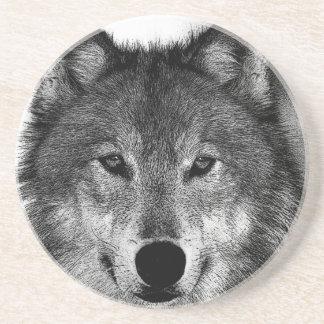 Schwarzer u. weißer Wolf-Grafik Getränkeuntersetzer