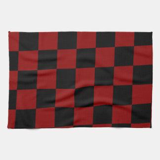 Schwarzer und roter Diamant-Schachbrett-Druck Küchentuch