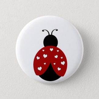 Schwarzer und roter Herz-Marienkäfer Runder Button 5,7 Cm
