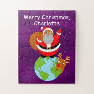 Schwarzer Weihnachtsmann stehend auf der Erde, Puzzle