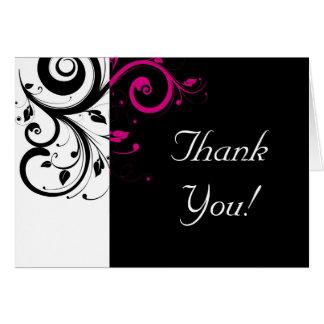 Schwarzer, weißer, pinkfarbener Rückstrudel danken Mitteilungskarte