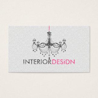 Schwarzer White& rosa Leuchter-Innenarchitektur Visitenkarten