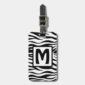 Schwarzer Zebra quadrierte Monogramm Gepäckanhänger