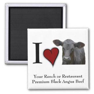 Schwarzes Angus-Rindfleisch - i-Liebeherzentwurf Quadratischer Magnet