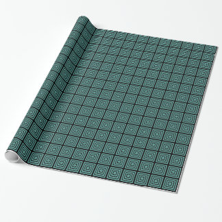 Schwarzes Aqua-elegante abstrakte geometrische Geschenkpapier