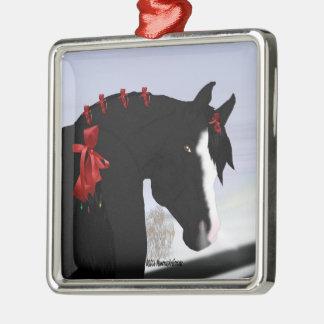 Schwarzes arabisches Pferdeweihnachten Silbernes Ornament