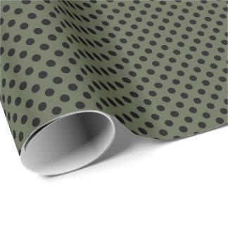 Schwarzes auf grünem Tupfen Zypresse Geschenkpapier