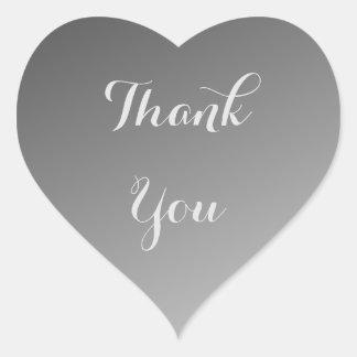 Schwarzes danken Ihnen Ombre Herz-Aufkleber