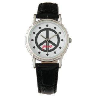 Schwarzes Friedenssymbol personalisiert Armbanduhr