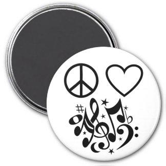 Schwarzes Friedenszeichen-rotes Herz-musikalische Runder Magnet 7,6 Cm
