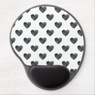 Schwarzes gekritzelte Herzen Gel Mouse Pads