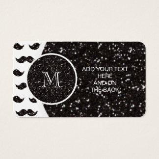 Schwarzes Glitzer-Schnurrbart-Muster Ihr Monogramm Visitenkarte