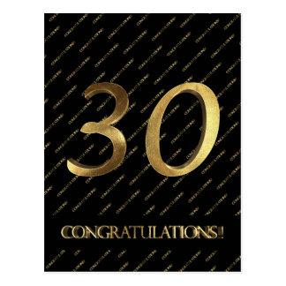 Schwarzes Gold30. Geburtstags-Jahrestag der Nr.-30 Postkarte