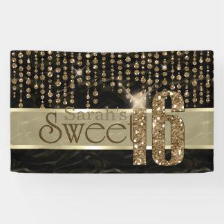 Schwarzes Gold ID260 Satin-Juwel-16. Geburtstag Banner