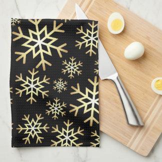 Schwarzes Goldweihnachtsschneeflocke-Geschirrtuch Geschirrtuch