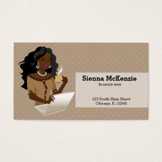Schwarzes Haar der Karrierefrau Visitenkarte