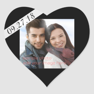 Schwarzes Hochzeits-Datums-Foto-Herz-geformter Herz-Aufkleber
