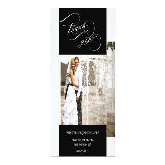 Schwarzes Hochzeits-Foto-Skript danken Ihnen 10,2 X 23,5 Cm Einladungskarte