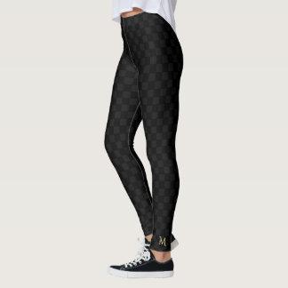 Schwarzes Karo-Muster-Monogramm Checkered in Leggings