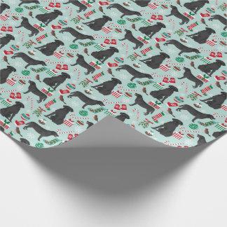 Schwarzes Labrador-Weihnachtsverpackungspapier Geschenkpapier