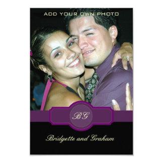 Schwarzes lila Hochzeit UAWG mit Foto 8,9 X 12,7 Cm Einladungskarte