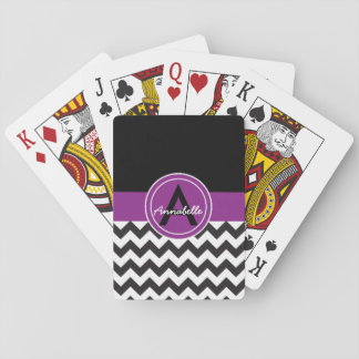 Schwarzes lila Zickzack Spielkarten
