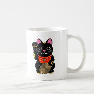 Schwarzes Maneki Neko Kaffeetasse