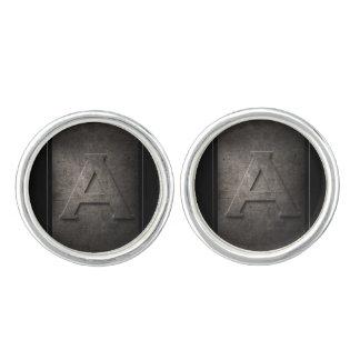Schwarzes Metall ein Monogramm-Paare Manschettenknöpfe