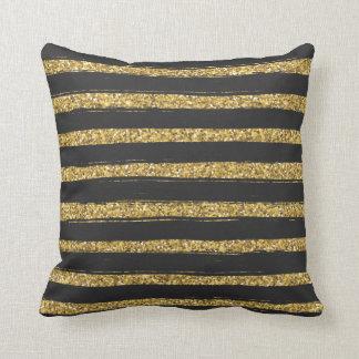 Schwarzes mit Goldhorizontalen Streifen Kissen