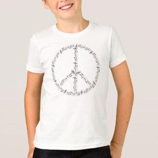 Schwarzes musikalische Anmerkungs-rundes T-Shirt