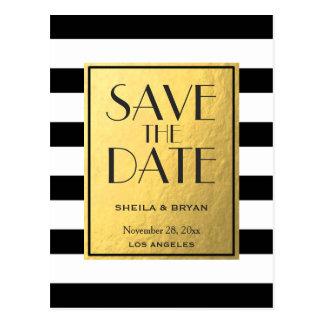 Schwarzes Stripes Goldfolien-Save the Date Postkarten