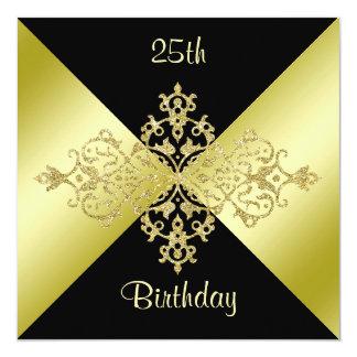 Schwarzes u. Goldeleganz-25. Geburtstag Quadratische 13,3 Cm Einladungskarte