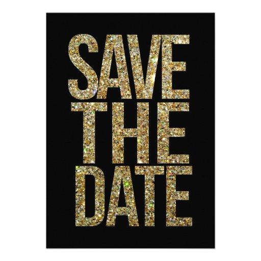 Schwarzes u. GoldGlitter-Save the Date Typografie Personalisierte Einladungskarten