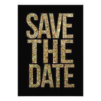 Schwarzes u GoldGlitter-Save the Date Typografie Personalisierte Einladungskarten