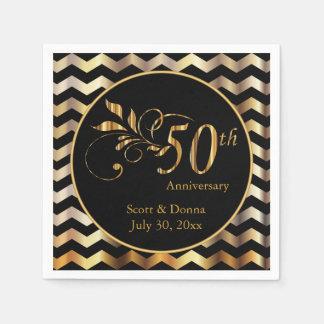 Schwarzes u. GoldZickzack 50. Hochzeits-Jahrestag Servietten