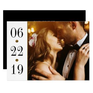 Schwarzes u. kundenspezifische Foto-Hochzeit des 12,7 X 17,8 Cm Einladungskarte