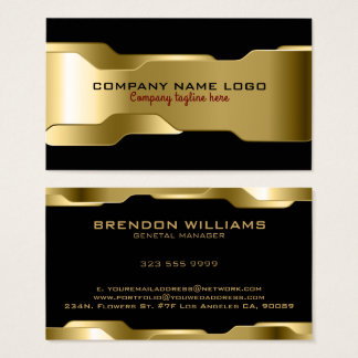 Schwarzes u. metallisches Goldgeometrischer Visitenkarten
