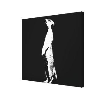 Schwarzes u. weißes Meerkat - recht - Leinwand