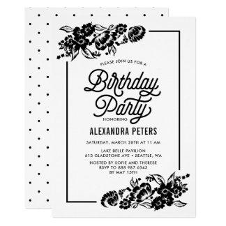 Schwarzes u. weißes modernes 12,7 x 17,8 cm einladungskarte