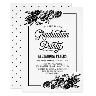 Schwarzes u. weißes modernes BlumenAbschluss-Party 12,7 X 17,8 Cm Einladungskarte