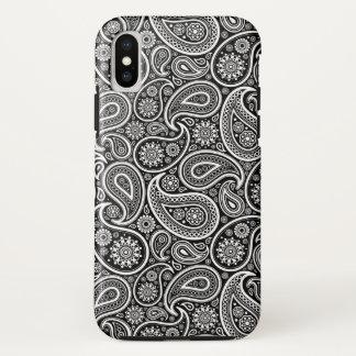 Schwarzes u. weißes Retro Paisley-Muster iPhone X Hülle