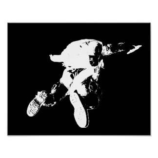 Schwarzes u. weißes Skydiving Poster