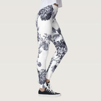 Schwarzes u. weißes Vintages botanisches Leggings